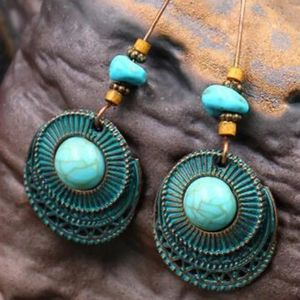 Vintage Round Faux Turquoise Earrings